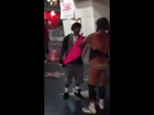 Drunken homeless man in Bikini fights with Mexican guy over Pink Umbrella! Homeless man KO'd. 1 of 2