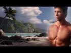 Male model-castles in the sand .HD