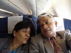 Aruna & Hari Sharma in KLM airplane from Amsterdam to JFK Airport New York, USA Feb 02, 2012