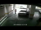 Stupid Asian Woman Driver Crashes her own Car Twice Caught on Tape Video Surveillance Fail