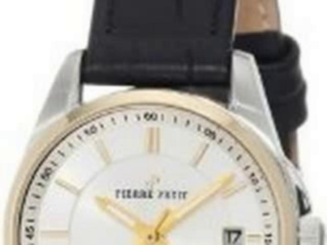 Pierre Petit Women's P-784B Serie Le Mans Two-Tone Date Black Leather Watch | PopScreen
