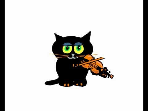 Fiddle Playing Lucky Black Cat Cartoon | PopScreen