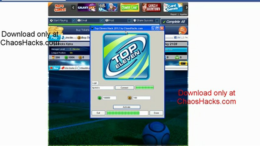 Top Eleven Hack 2012 [Cash] [Tokens] | PopScreen
