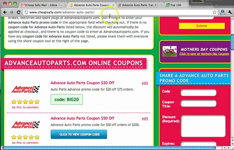 Auto parts coupon codes