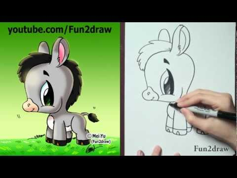 How to Draw Cute Cartoons - How to Draw a Donkey | PopScreen