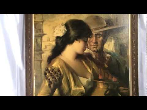 LA COQUETA by PUYET HUGE VINTAGE SEXY SPANISH PAINTING | PopScreen
