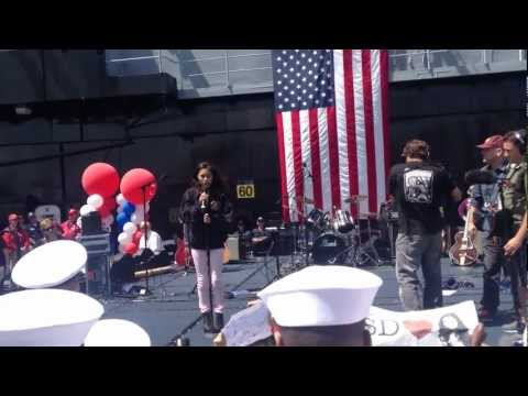 Jessica Sanchez singing the National Athem on the USS Midway: American Idol | PopScreen