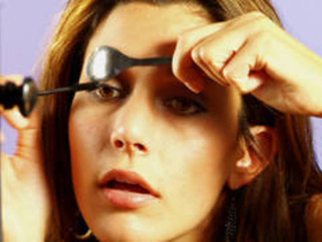 Image result for avoid mascara smudges by using spoon