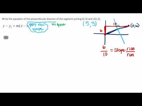 How to write the equation of a perpendicular bisector