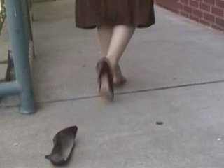 One shoe walk in RHT stockings ~ Shoeplay   PopScreen