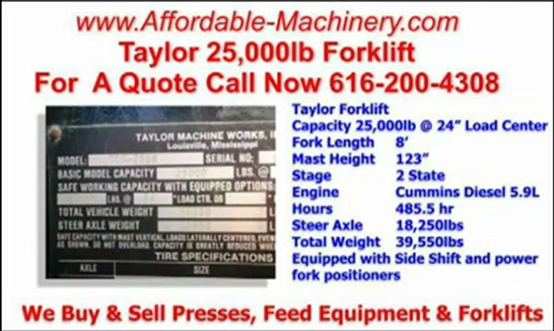Taylor 25000lb Hard Tire Forklift 25,000lb at 24 inches Load Center | PopScreen