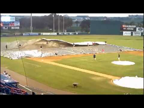 Strong Winds Makes Grounds Crew Worker Go Airborne | PopScreen