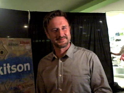 David Arquette chats with the Paparazzi at the launch of his new clothing line