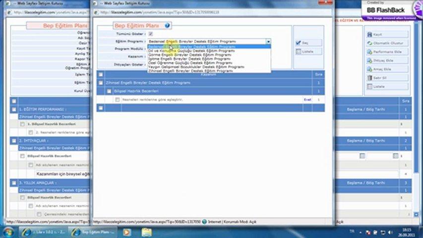 Otomatik BEP Planlari; Bireysel Egitim Plani (BEP)-Lila Yazilim.::..http://www.lilayazilim.com | PopScreen