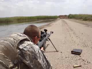 50 cal barret sniper rifle fired in Iraq blows guy away | PopScreen