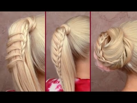 Braided ponytail everyday hairstyle Cute easy bun updo for long hair