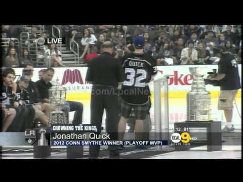 Jonathan Quick drops F-Bombs on Live TV during LA Kings Stanley Cup Rally | PopScreen