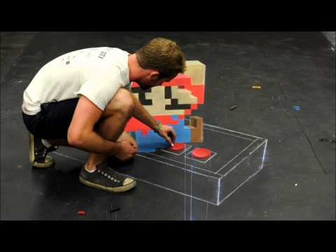 Super Mario - 3D Chalk Art (Time Lapse) | PopScreen