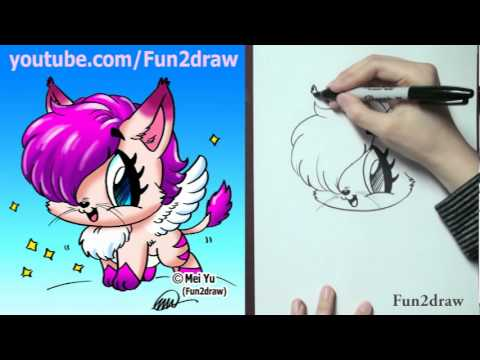 How to draw a fantasy cat with wings popscreen for Fun to draw cat