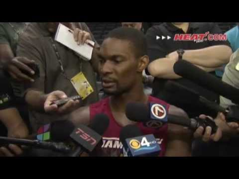 Chris Bosh Game 2 Shoot around Interview (NBA Finals) [6.14.2012] | PopScreen