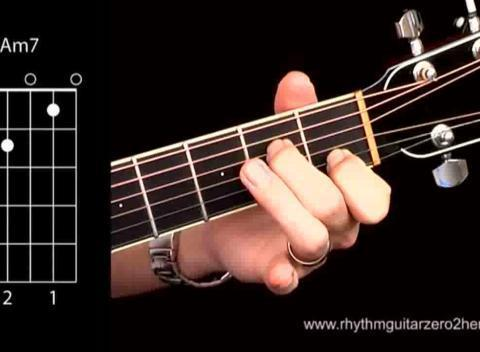 How To Play Am7 Open Position Chord On The Acoustic Guitar Popscreen