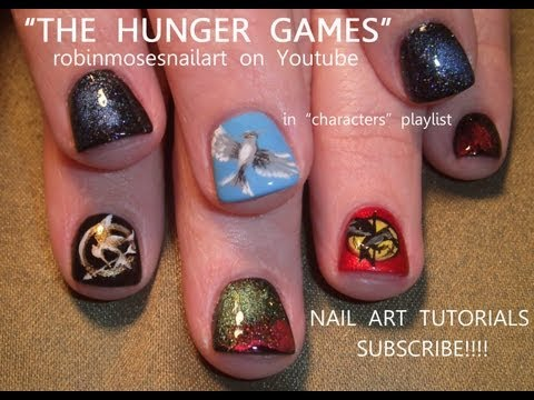 THE HUNGER GAMES NAILS robin moses nail art design tutorial 623  PopScreen