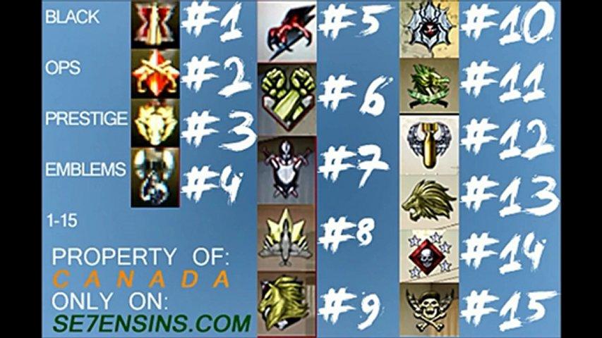 Black Ops Prestige Emblems 1-15 Cod Black Ops All Prestige