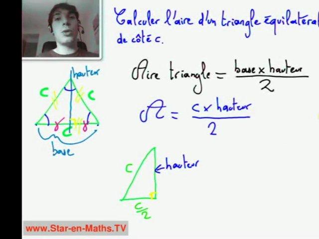 2nde Comment calculer l'aire d'un triangle équilatéral | PopScreen