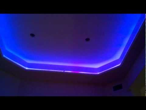 Led color changing lighting in a home media room popscreen - Color changing room lights ...