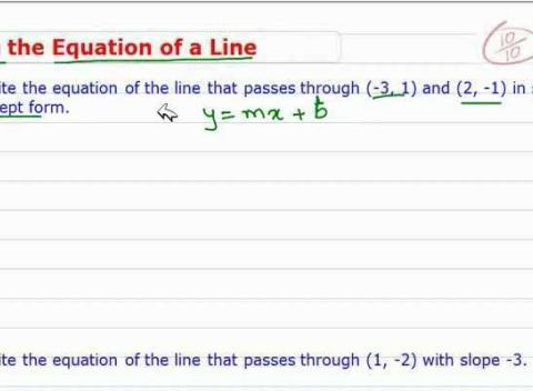 how to find the intercept of two equations